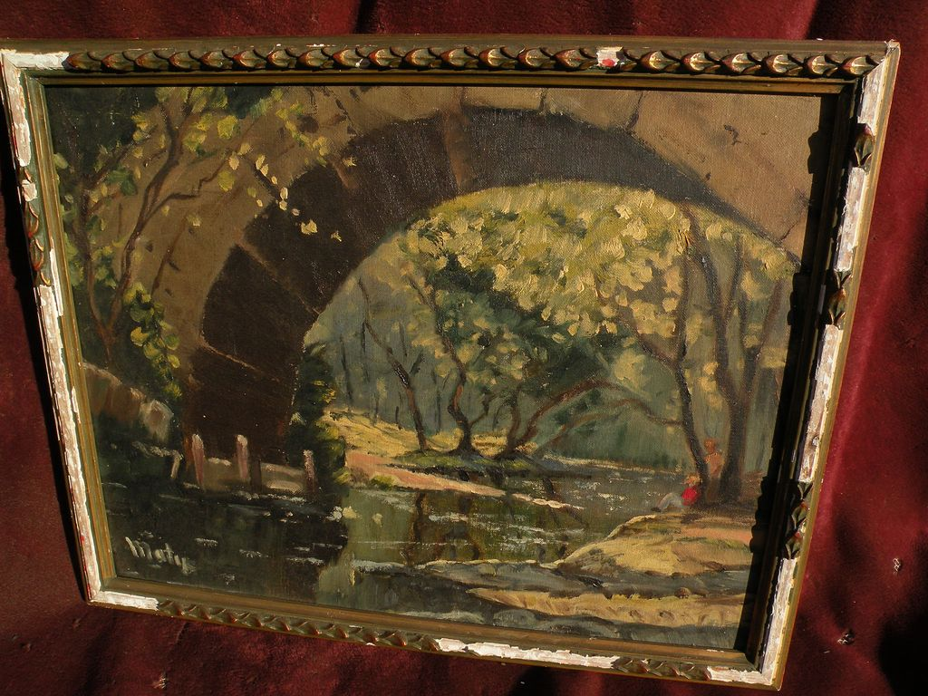 American impressionist signed landscape painting figures under an arched stone bridge by a small river