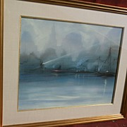 LEON DOLICE (1892-1960) original pastel drawing of New York City skyline