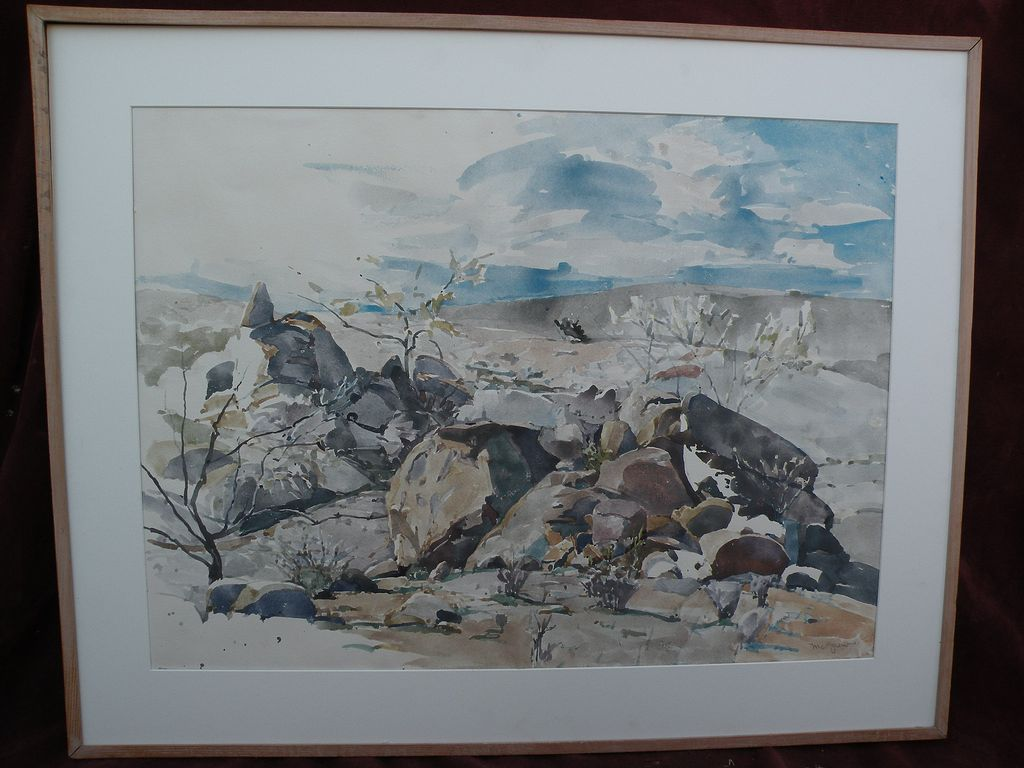 BRUCE McGREW (1937-1999) Southwest American art large desert landscape watercolor painting by Arizona master artist
