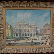 French naive school painting of Paris opera house circa 1950's