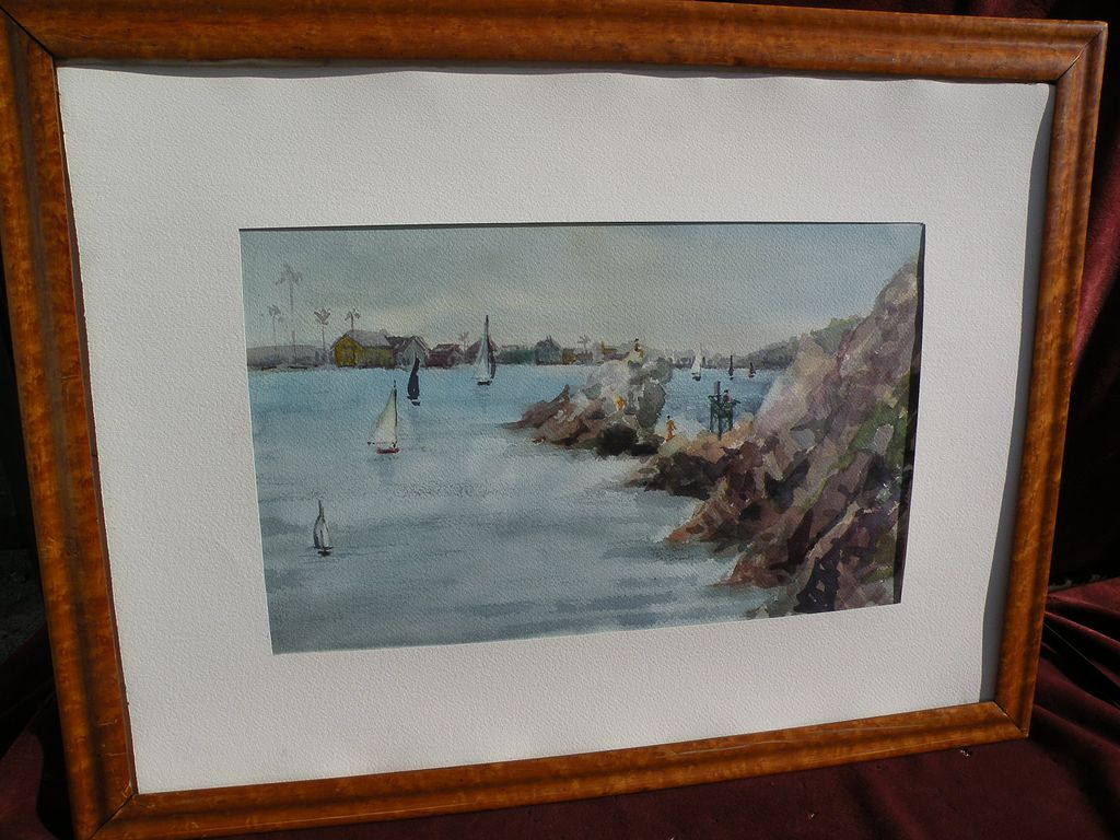 California watercolor school painting of a harbor likely Newport Beach