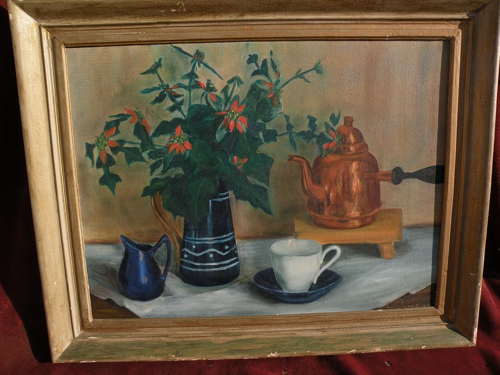 American vintage signed still life painting circa 1940's