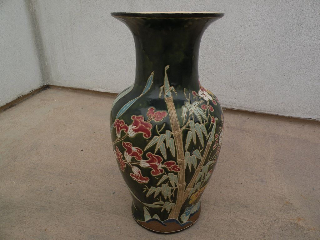 Decorative large hand made vintage vase signed on bottom with initial