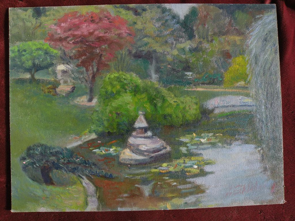 Decorative impressionist painting of a japanese style pond for Japanese style pond