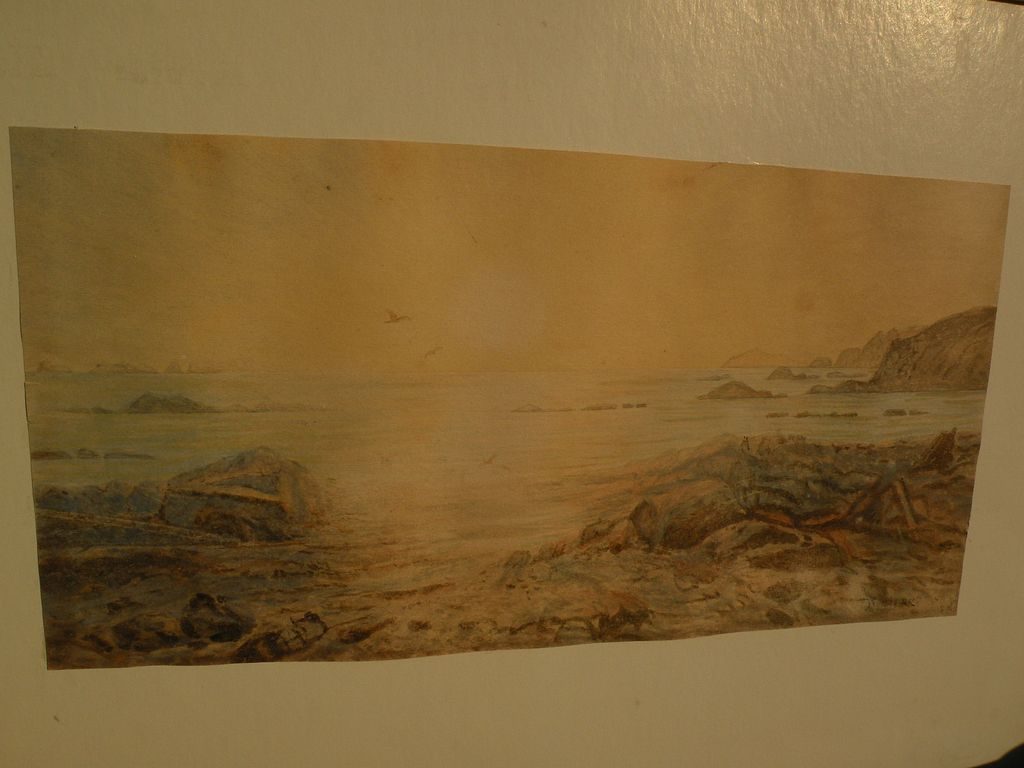 Alaskan art landscape watercolor as-is condition possibly by well listed Alaska and California artist THEODORE J. RICHARDSON (1855-1914)