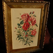 Watercolor painting of roses nicely framed shabby chic style