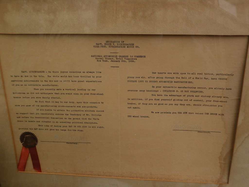 Automobilia scarce 1924 presentation proclamation to war hero and auto pioneer Eddie Rickenbacker