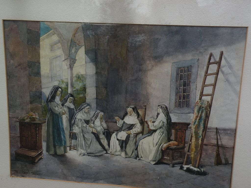 PAOLO SALA (1859-1924) Italian art original watercolor on paper painting nuns chatting in a courtyard
