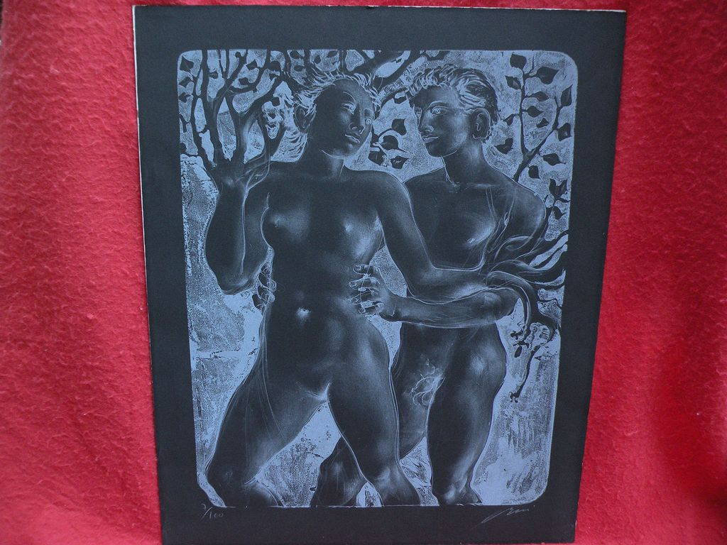 "HANS ERNI (1909-2015) pencil signed original lithograph print ""Daphne and Apollo"" by important Swiss artist"