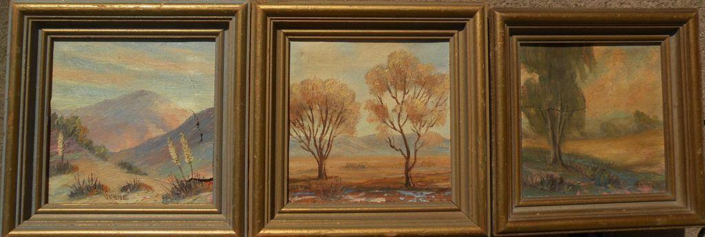 THREE California art miniature oil landscape paintings by VERNE of Laguna Beach