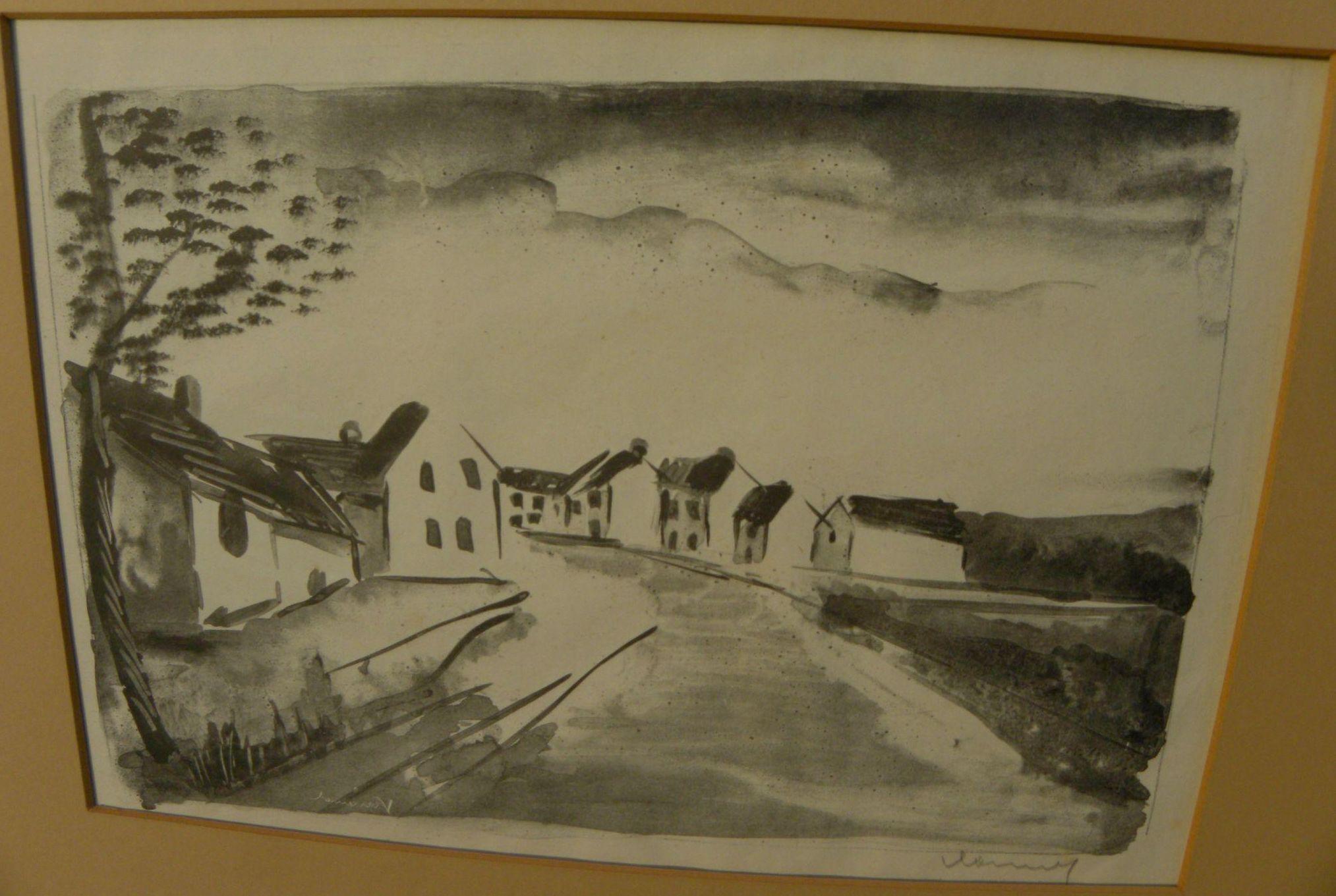 """MAURICE de VLAMINCK (1876-1958) pencil signed lithograph print ca. 1925 """"Nelle-la-Vallee, la route"""""""