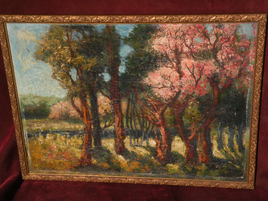 FRANK GLYNDON American-English artist impressionist landscape painting of flowering trees in spring circa 1930's