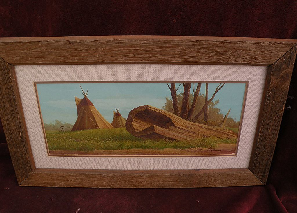 JOSEPH HOLBROOK (1946-) Western American art original gouache painting of tipis on the plains 1979