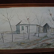 JOHN LIGGETT MEIGS (1916-2003) original Southwest watercolor landscape painting by realist painter and art historian