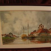 HERMANUS KOEKKOEK Jr. (1836-1909) watercolor painting of coastal town by noted Dutch artist