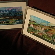 PAIR of drawings by noted Swiss folk art painter VERENA BROGER (1943-)