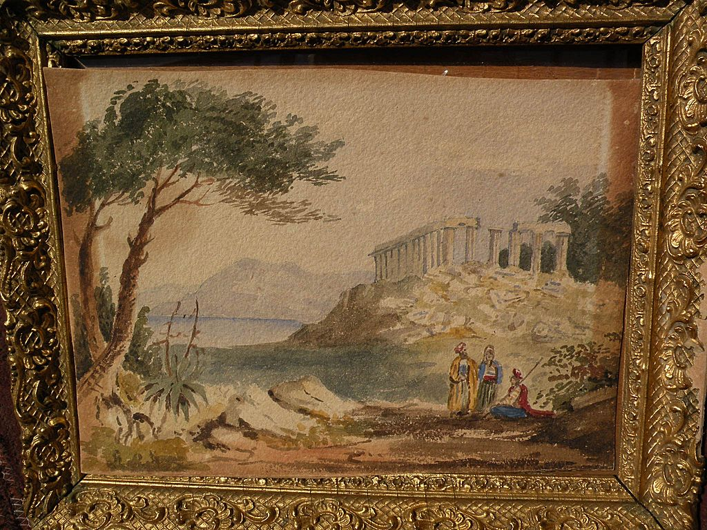 Antique Watercolor Painting Of Greek Or Roman Temple In
