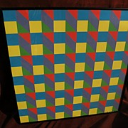 Mid century Op Art original colorful signed painting in gouache