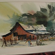JAKE LEE (1915-1991) California watercolor art signed painting
