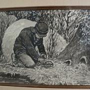 CLARENCE ELLSWORTH (1885-1961) Western American illustrator drawing original gouache