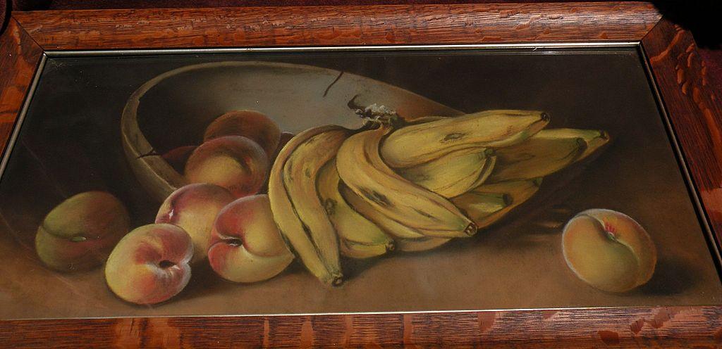 American still life pastel drawing of bananas peaches and bowl circa 1900