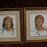 LOUIS J. ENDRES (1896-1989) well listed American orientalist artist **pair** of original pastel drawings