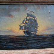 Vintage American marine art signed 1938 oil painting of clipper ship against the sunset