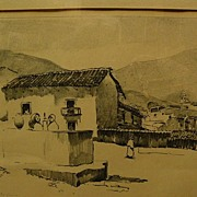 ALSON SKINNER CLARK (1876-1949) pencil signed lithograph print of a Mexican village scene