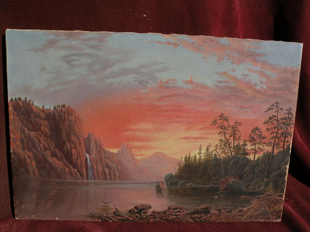 "After ALBERT BIERSTADT American art antique oil painting ""Sunset: California Scenery"""