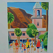 EARL CORDREY (1902-1977) retro Palm Springs California mid century watercolor painting original cover art for Palm Springs Life
