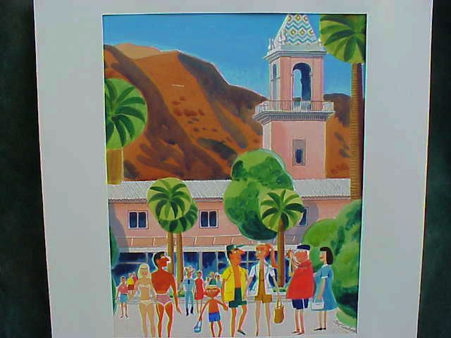 EARL CORDREY (1902-1977) very retro Palm Springs California art watercolor mid century painting of a holiday weekend circa 1960's