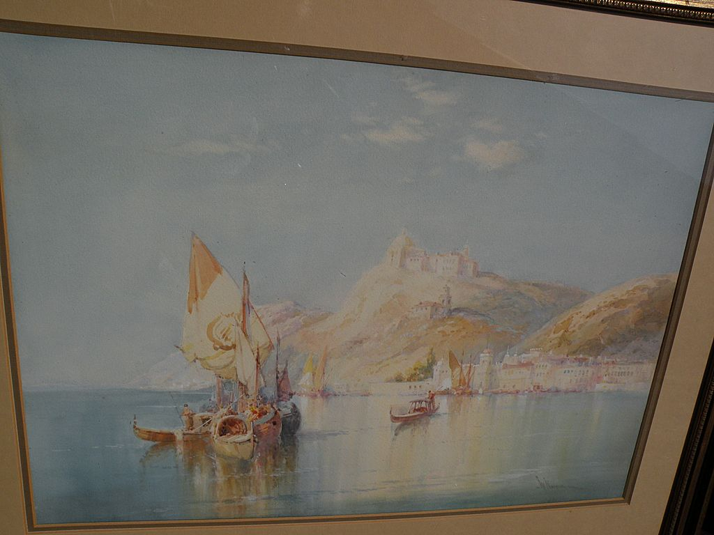 WILFRED KNOX (1884-1966) well listed English marine artist luminous Italian coastal scene
