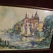 ROBERT PATTERSON (1898-1981) impressionist watercolor by mid century American illustrator artist