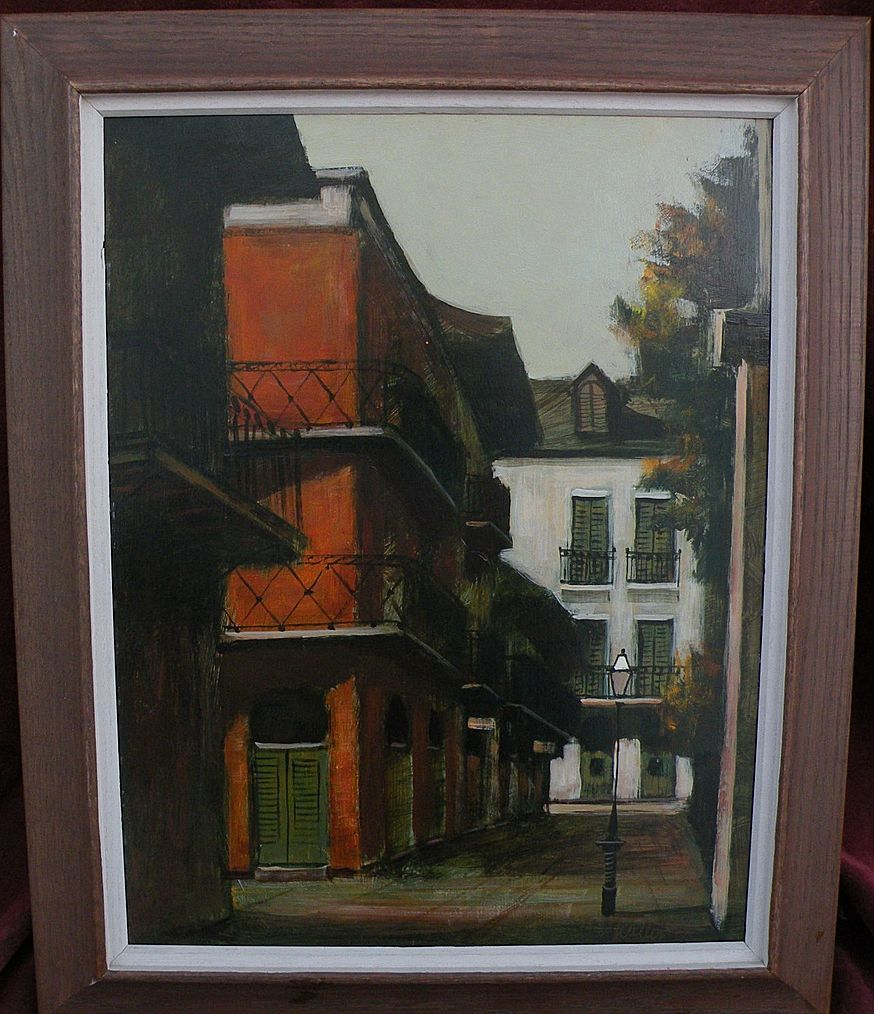 DELL WELLER (1927-) Louisiana art New Orleans street scene painting