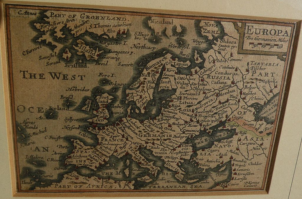 17th century miniature engraved hand colored map of Europe by P. van den Keere (Kaerius)