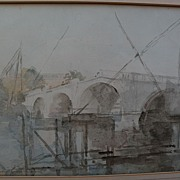 PHILIP CONNARD (1875-1958) watercolor painting of Richmond Bridge by important English 20th century artist