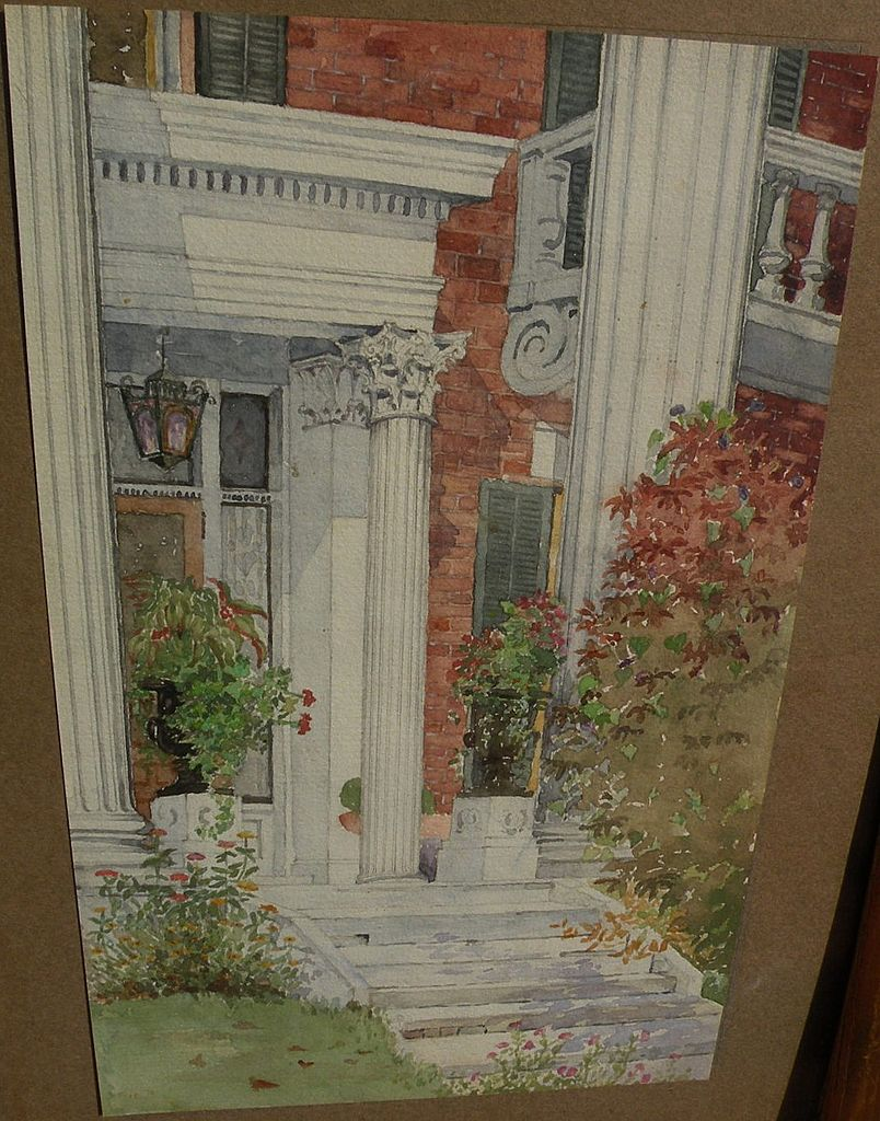 American 19th century art beautiful watercolor painting of  stately home doorway
