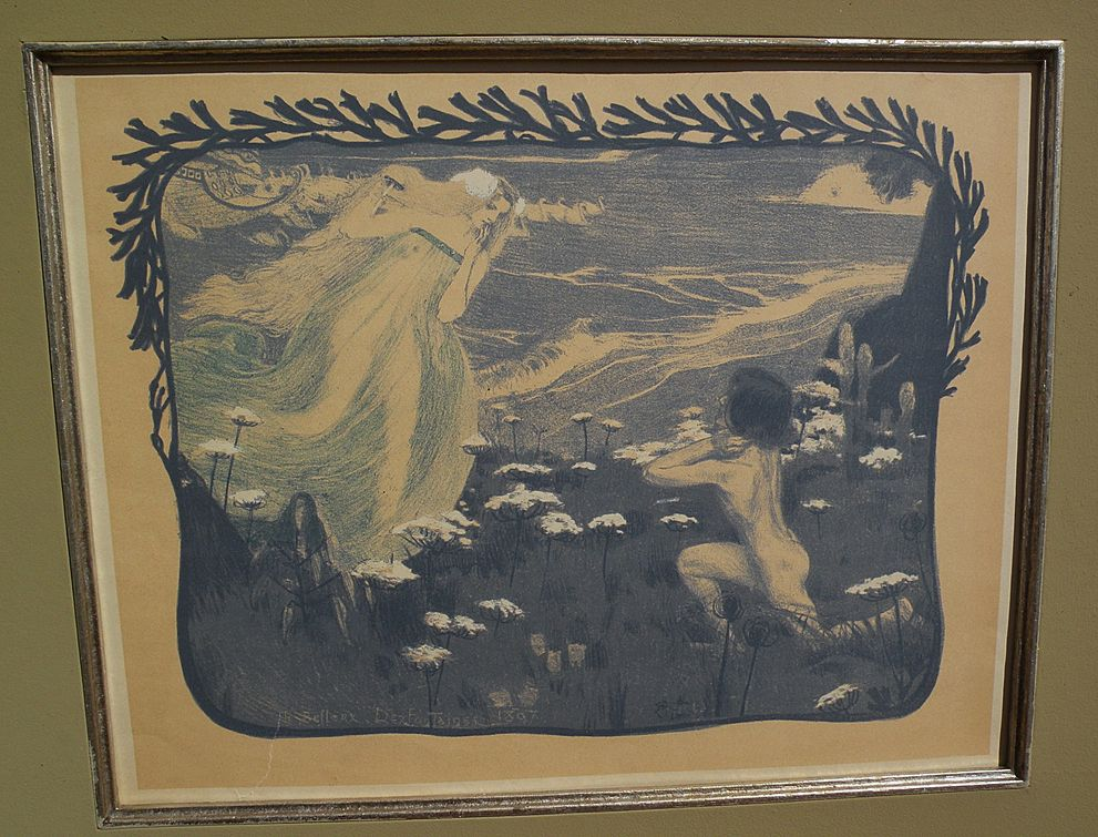 "Henri Jules Ferdinand Bellery-Desfontaines (1867-1910) original color lithograph ""L'Illusion"""
