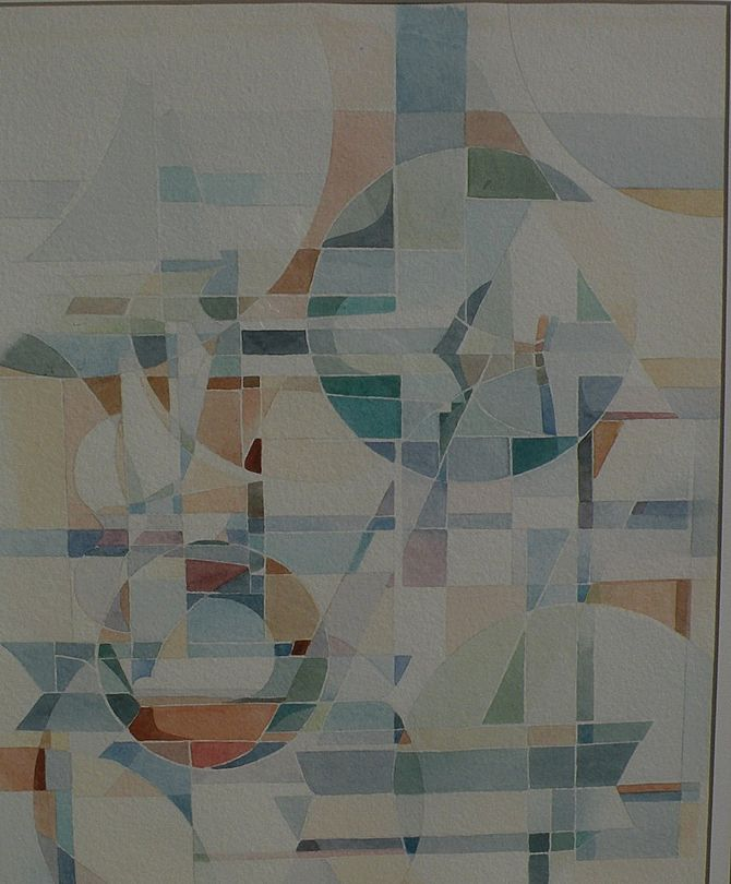 Abstract art watercolor signed contemporary painting