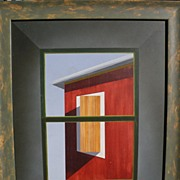 JOHN KALAMARAS (1936-) contemporary painting on panel roofline and windows