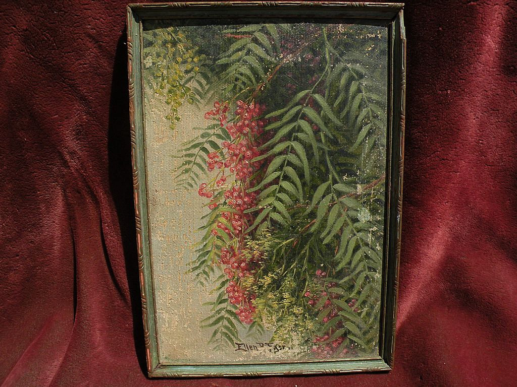 ELLEN BURPEE FARR (1840-1907) early California art painting of pepper tree branches by popular woman artist