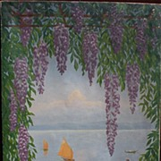 Decorative signed large mural like landscape painting of Italian lake framed by wisteria
