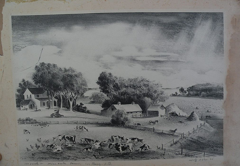 "ADOLF DEHN (1895-1968) pencil signed limited edition lithograph print ""Minnesota Farm"" 1935"