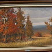 DON LANGFORD contemporary impressionist art large autumn landscape painting by listed artist
