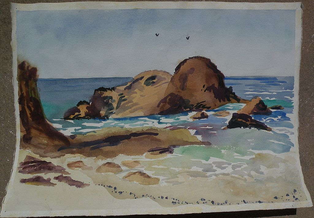 Impressionist watercolor painting of the seashore