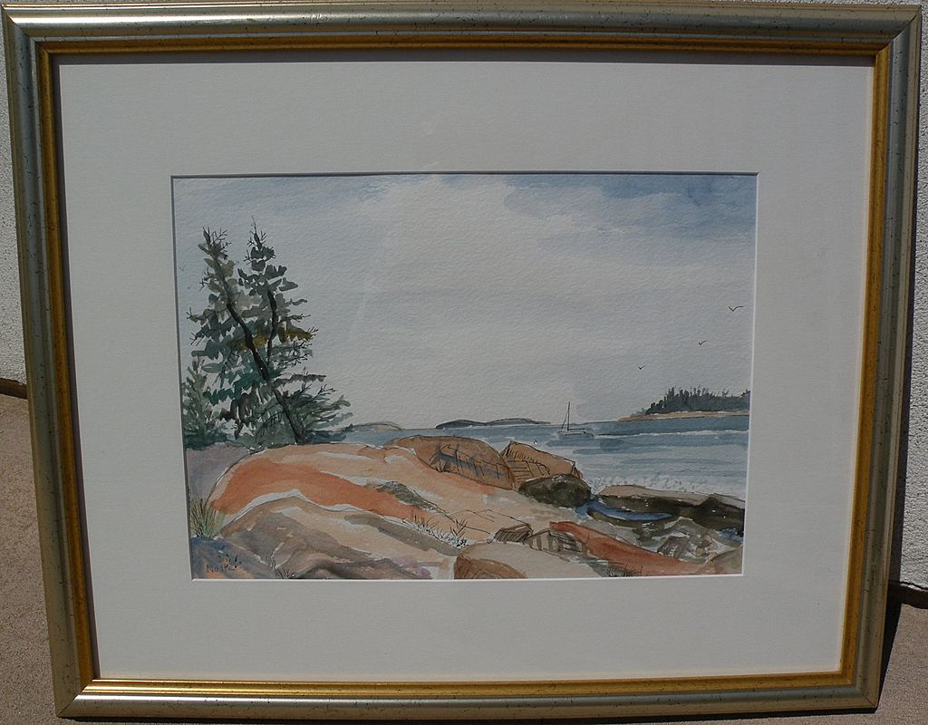 Maine art signed contemporary watercolor painting of Hidden Harbor near Acadia National Park