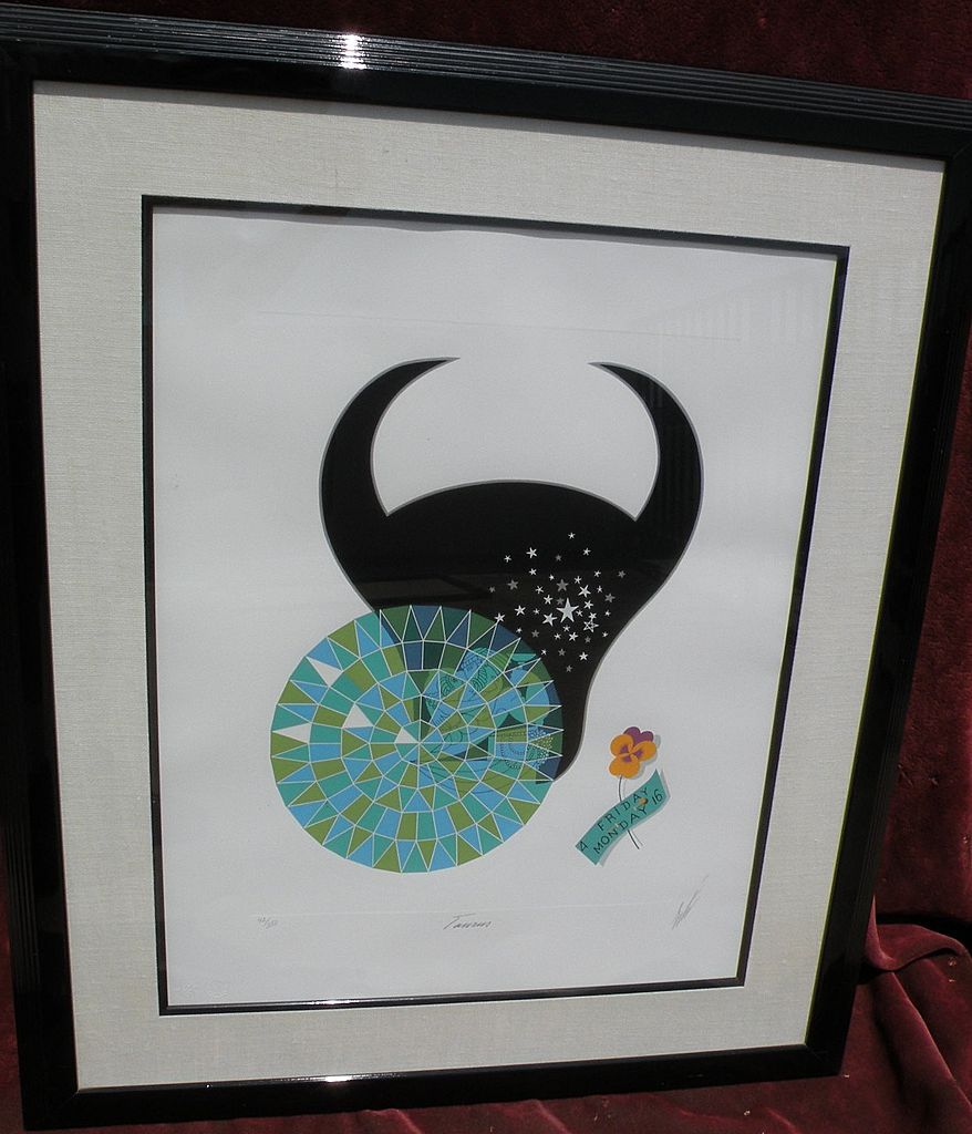 "ERTE (Romain de Tirtoff)   (1892- 1990)   limited edition pencil signed serigraph of 1982 Zodiac Suite ""Taurus"""