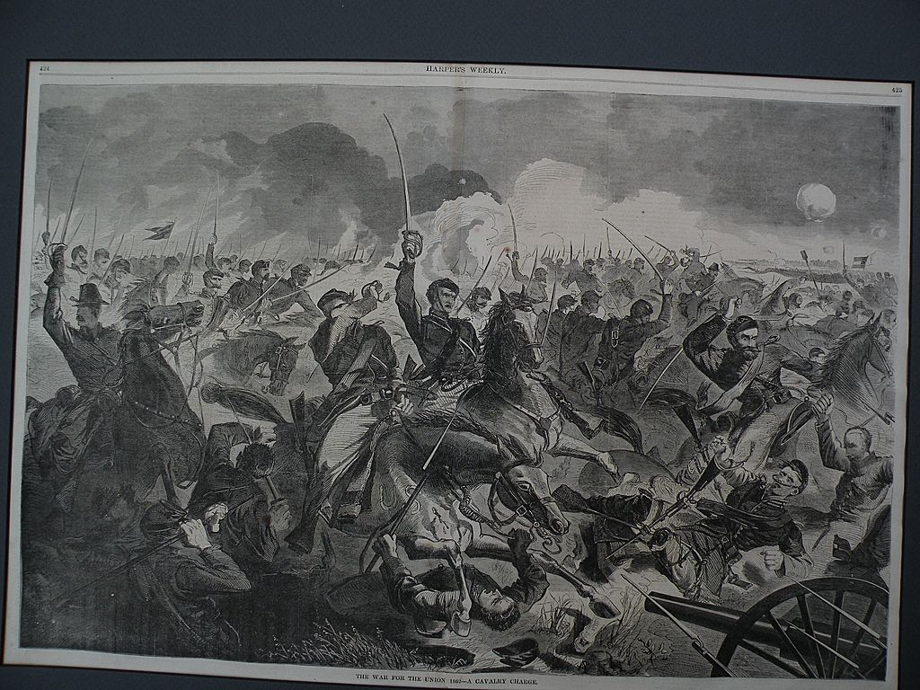 WINSLOW HOMER (1836-1910) wood engraving print of Civil War subject from Harpers Weekly 1862