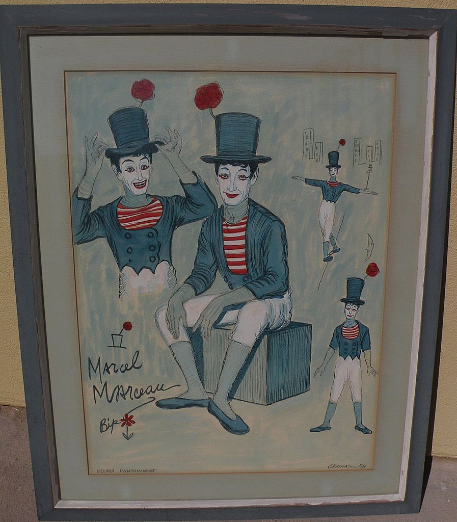 Marcel Marceau the mime original drawing by GEORGE CRIONAS (1925-2004) with celebrity provenance