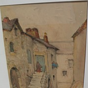 FRANK DRUMMOND ALLISON (1883-1951) Canadian listed artist beautiful watercolor drawing of a French town